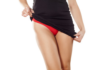 Pretty lady lifted her dress and shows her red panties