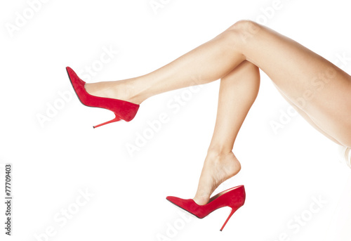 canvas print picture pretty female legs in red high heels