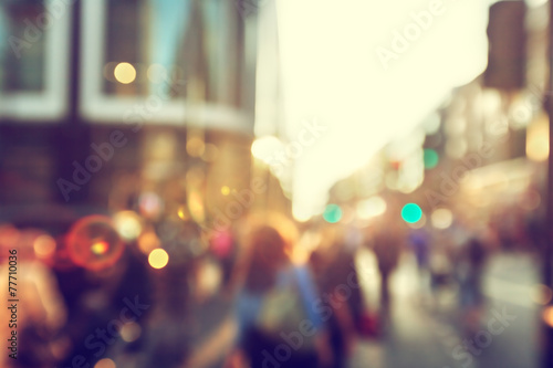 people in bokeh, street of London poster