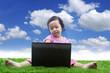 E learning for girl under blue sky