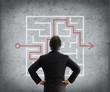 Постер, плакат: businessman solves complicated maze