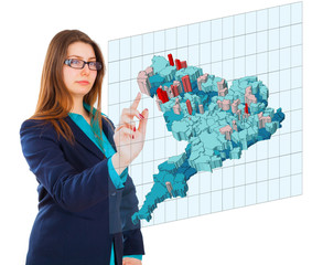 Business woman pointing her finger on imaginary virtual usa map