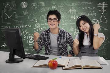 Joyful students expressing success