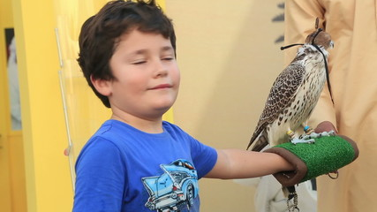 Little boy posing to camera with hawk