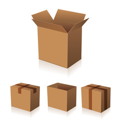 Paper brown box packaging vector