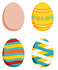 Set of 4 Easter eggs - plain and 3 decorated