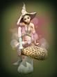 Obrazy na płótnie, fototapety, zdjęcia, fotoobrazy drukowane : Pink Elf on a Mushroom, 3d CG