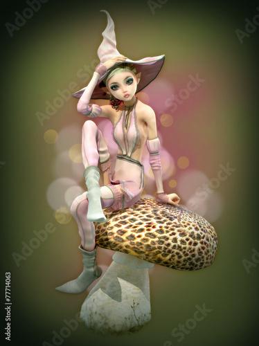 Zdjęcia na płótnie, fototapety, obrazy : Pink Elf on a Mushroom, 3d CG