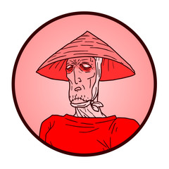 Oriental red face