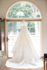 wedding dress white hanging elegant