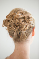 blonde curly up do hair style wedding bride