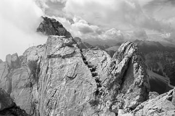 Alps - Watzmann peak in the cloud from summit of Hocheck
