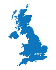 blue map of United Kingdom with the indication of London