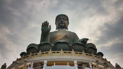 day light giant duddha statue 4k time lapse from hong kong china