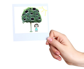 Hand holding photo with green tree and photo cards