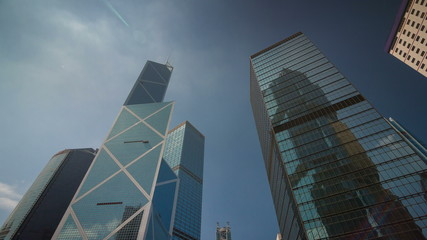 day light bank of china block 4k time lapse from hong kong