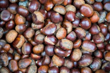 Fresh chestnut on the market