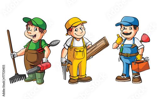 Worker Set : Gardener,Carpenter And Plumber - 77720455