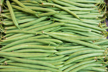 Fresh green beans at the farmers market