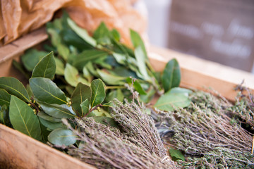 Fresh herbs. A bunch of bay leaf and thyme.