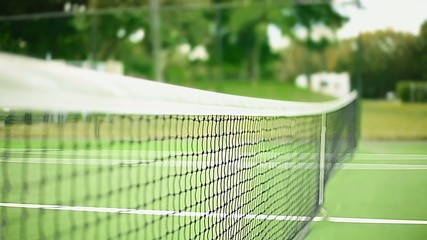 Daylight Shot of Net at Tennis Court from Inside of the Court