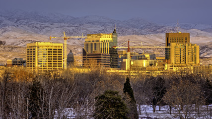 Boise skyline at sunset in winter