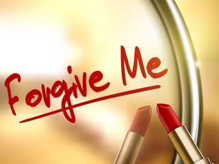 forgive me words written by red lipstick
