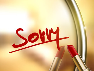 sorry word written by red lipstick