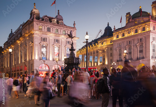LONDON, UK - AUGUST 22, 2014: Piccadilly Circus in night.  - 77725692