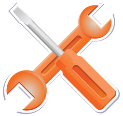 Wrench and screwdriver sticker icon