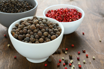 Mixed peppercorns in a bowls