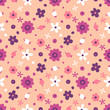 Seamless pattern with small flowers and berries.