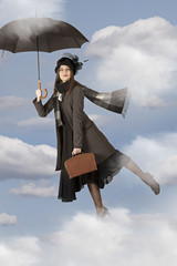 Mary Poppins flies on an umbrella