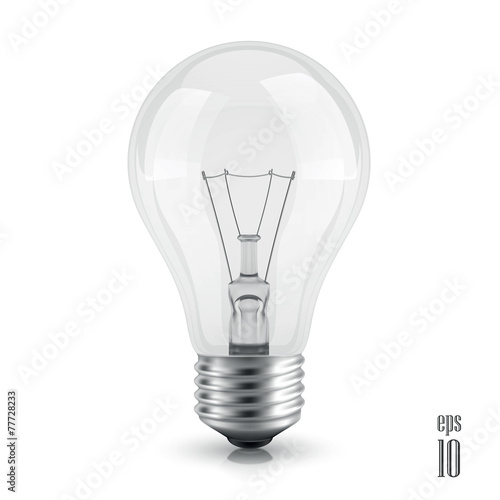 light bulb realistic vector  isolated on white background - 77728233