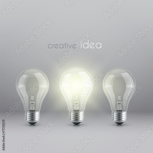 creative idea solution symbol with burning light bulb - 77728239