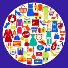 Shopping related icons-illustration