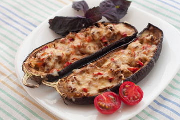 Stuffed Eggplant with Fried Vegetables