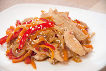 chicken and vegetables stir fried