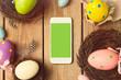 Smartphone mock up template for easter holiday app presentation - 77730869