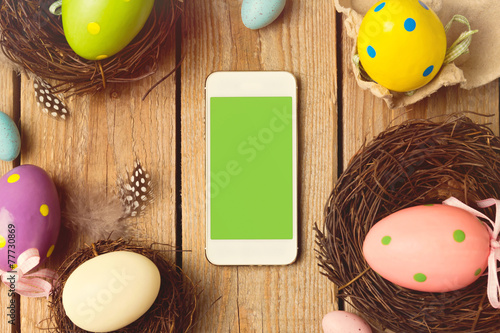 canvas print picture Smartphone mock up template for easter holiday app presentation