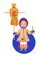 Ukrainian girl with a pancake and a scarecrow Shrovetide