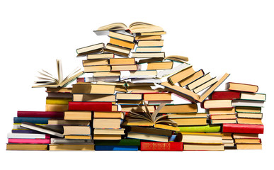 Pile of books, isolated on white