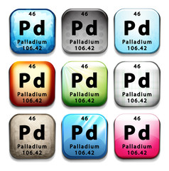 An icon with the chemical element Palladium