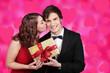 canvas print picture - Paar am Valentinstag