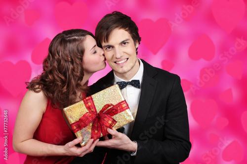 canvas print picture Paar am Valentinstag