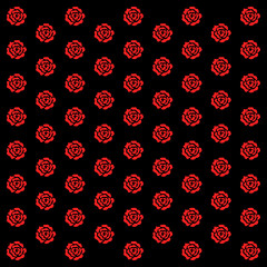 Elegance wallpaper with of red roses on floral background