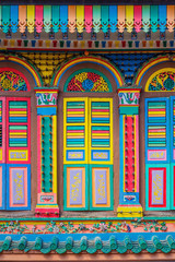 Colorful facade of building in Singapore