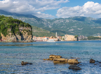 View of the cliffs and the old town of Budva