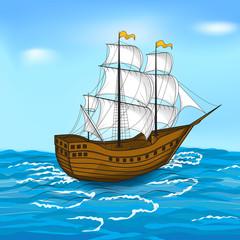 vintage sailing ship at sea and the sky