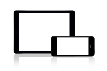 Tablet and smartphone on white
